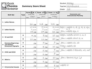 Quick Phonics Screener Read Naturally Inc