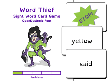 Word Thief PrePrimer Level Card Game