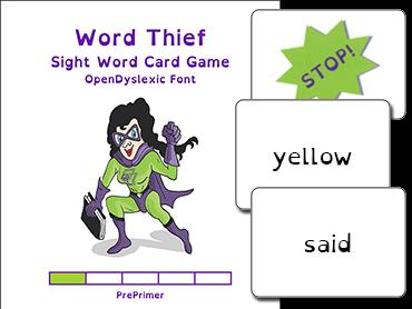 Word Thief PrePrimer Level Card Game