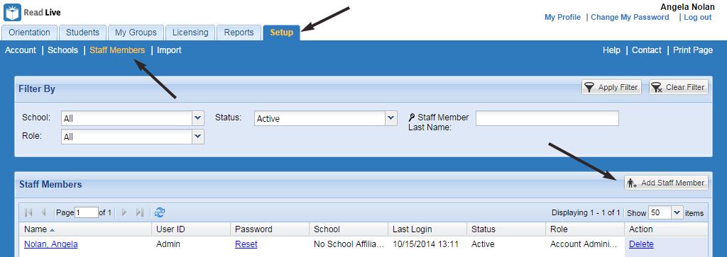 read live smart start guide adding staff members read rh readnaturally com Clip Art User Guide User Guide Template