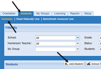 Adding a student in Read Naturally Live