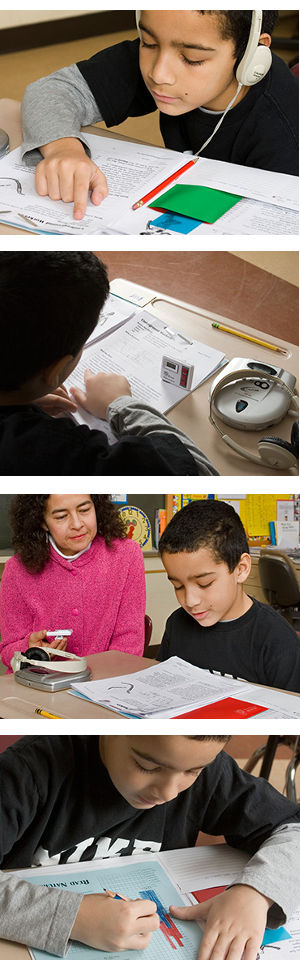 The Encore reading fluency intervention develops reading proficiency using nonfiction reading passages and audio CDs
