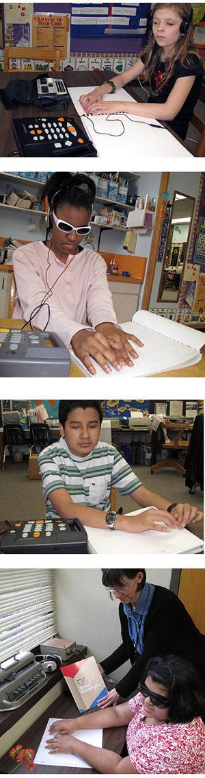 Students read Braille materials to learn to read Braille text fluently