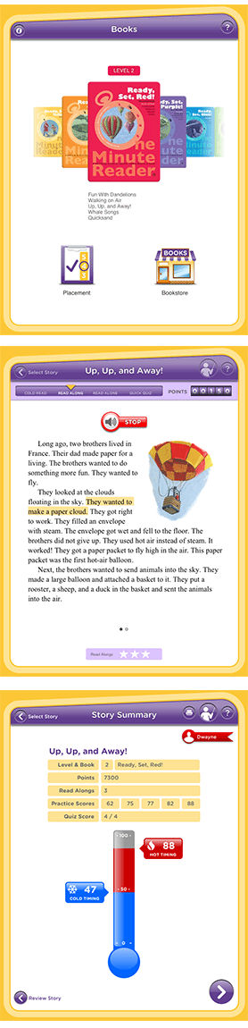 Steps for the One Minute Reader reading fluency app