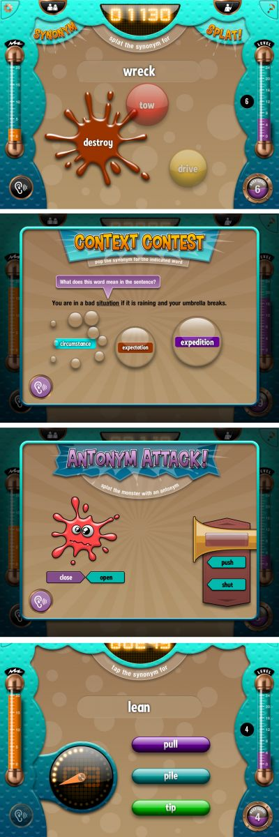 Splat-O-Nym is a vocabulary word game that includes a synonym activity, antonym activity, and meaning-from-context questions