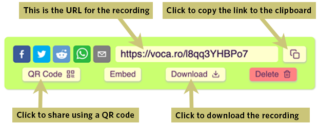 Vocaroo options for sharing a recording