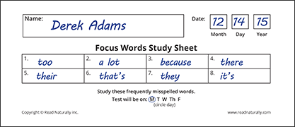 Word study sheet for mastering frequently misspelled words